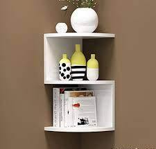 Zig zag Corner Rack Shelves for Living and Bedroom Decoration - Craftemporio