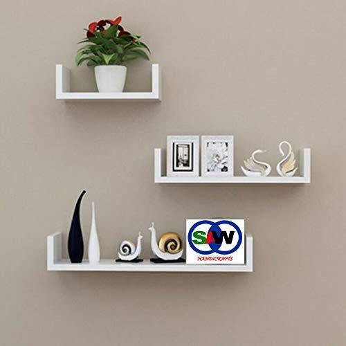 Handicrafts Wooden Wall Rack Shelves Black Set of 3 Shelves Extra Large - Craftemporio