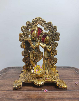 Gold-Toned Metal Radha Krishna Statue Showpiece