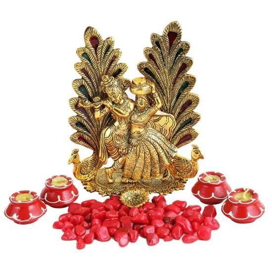 Lord Krishna and Rakha with Gift Set