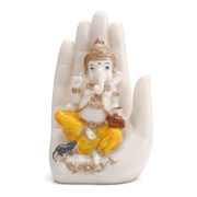 Craftemporio White Marble Polyresin Handcrafted Palm Ganesha Decorative Showpiece