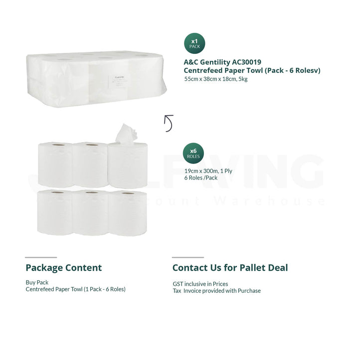 A&C Gentility AC30019 Centrefeed Paper Towel, 300m x 19cm, 1ply, 6 rolls/ pack