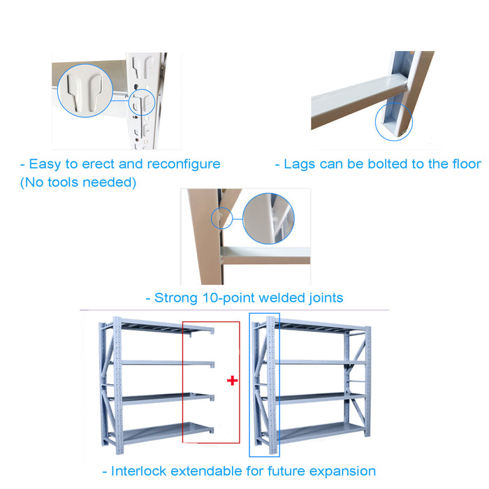 2m*2m*0.6m (800kg) Garage Warehouse Storage Shevlving Steel Tool Racking Shelves /Racking