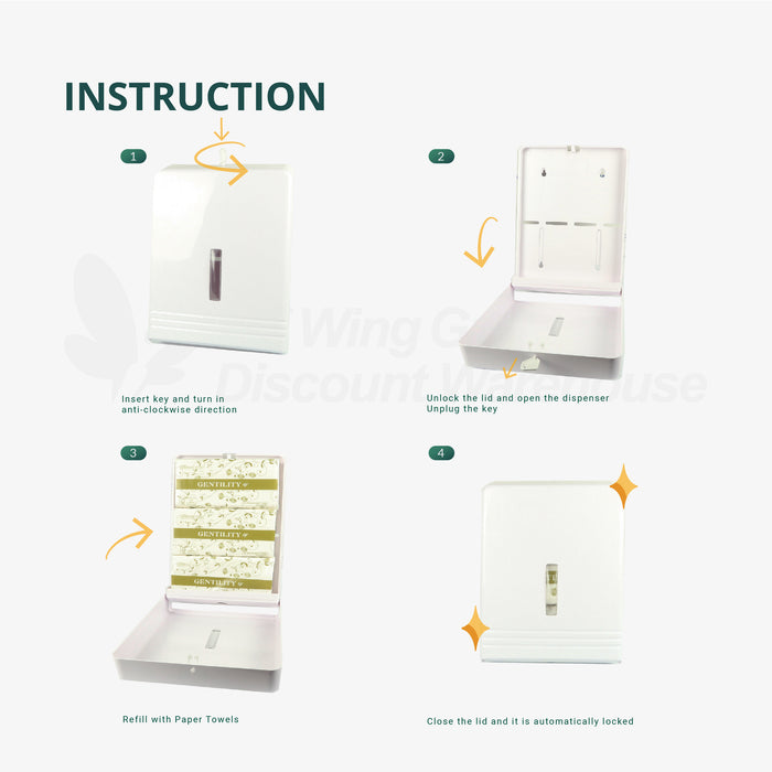 A&C Gentility ELFNA2 Interfold Hand Towel Dispenser M, Wall Mounted, Fit for 20cm/ 22.5cm/ 23cm Hand Towel (AC 2299 /AC 3399/AC 6660A/AC 0023/AC 0024)
