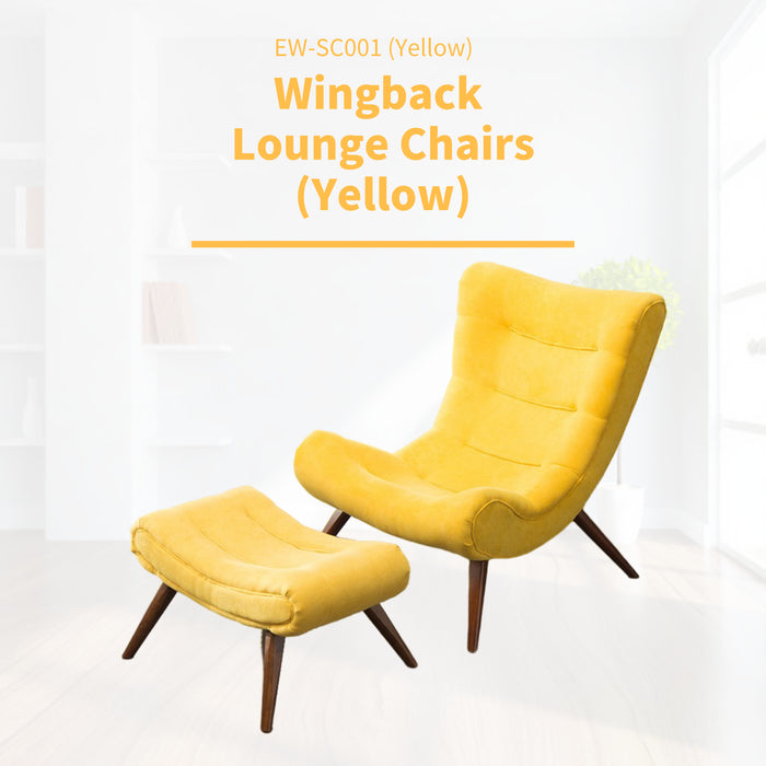 Fabric Upholstered Wingback Lounge Chair and Ottoman - Yellow/Grey