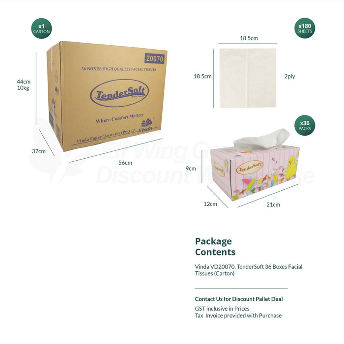Vinda 20070 Tendersoft 36 boxes High Quality Facial Tissues, 185mm x 185mm, 2 ply, 180's,36 boxes/ctn