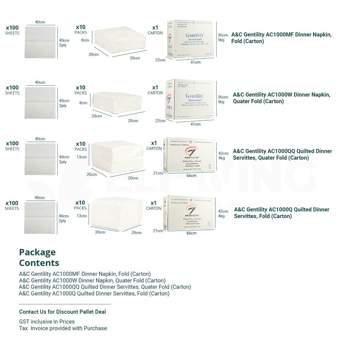 A&C Gentility 1000Q  Quilted Dinner Servittes, 40cm x 40cm, 2ply, White, Quater Fold/Fold, 100 sheets x 10 packs/ctn.