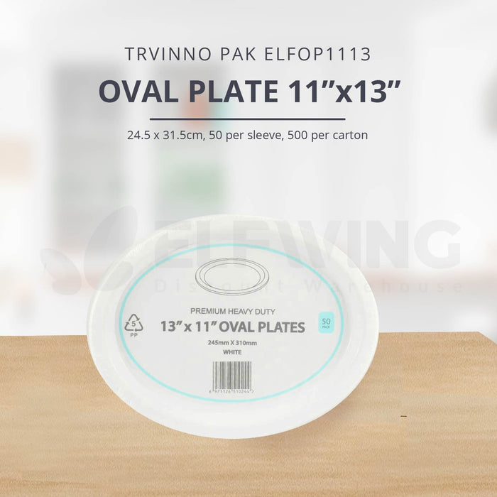 "Trivnno Pak ELFOP Oval Plate, 11""x13"", 50pcs/ packs, 400pcs/ Carton"