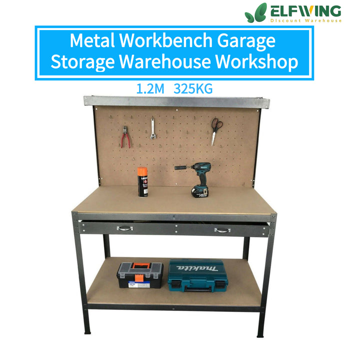 1.2M 325kg Metal Workbench Garage Storage Warehouse Workshop Steel Work Benches