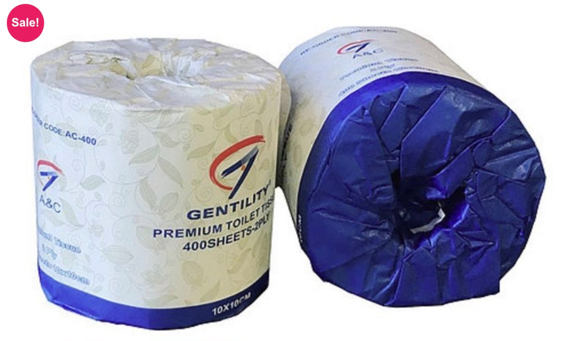 A&C 400 Gentility Premium Toilet Tissues Soft White, 2ply, Individually Wrap 400Sheets x 48 Rolls/ctn.