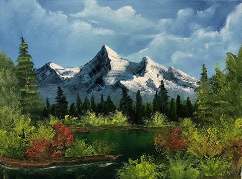 Oil landscape painting by Bob Ross