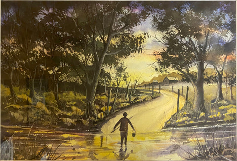Boy Walking Home from the River by Virgil Deges