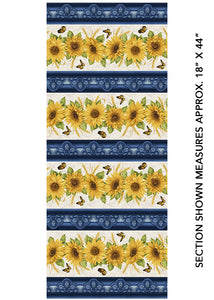 Accent on Sunflowers - Sunflower Stripe - from Benartex