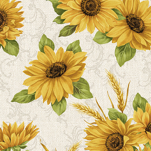 Accent on Sunflowers - Sunflower Meadow Linen - from Benartex