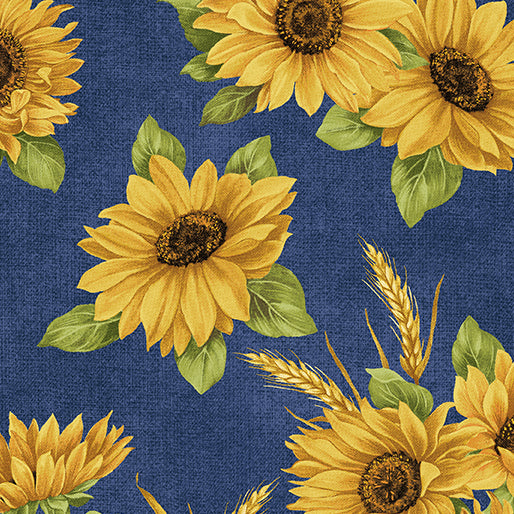 Accent on Sunflowers - Sunflower Dance Blue - from Benartex