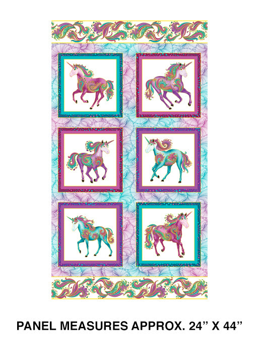Unicorn Panel -White Multi Colors from Benartex