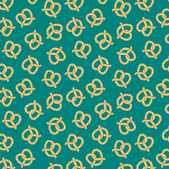 Pretzels on Teal - from Paintbrush Studio Fabrics