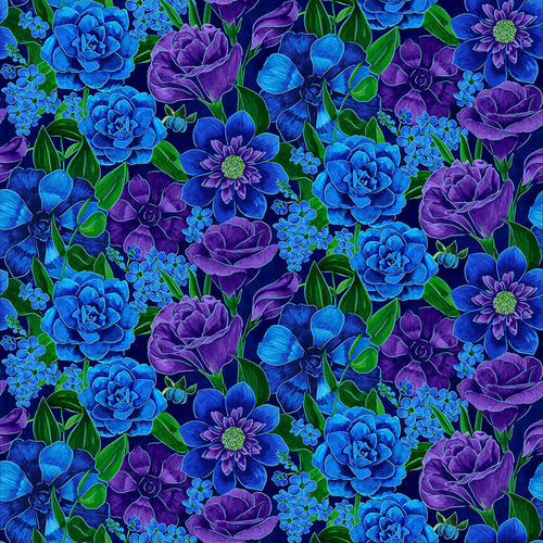 Luna Garden Navy Large Floral - from Blank Quilting