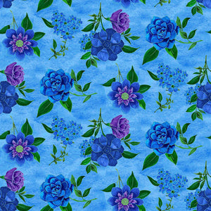 Luna Garden Light Blue Spaced Floral - from Blank Quilting