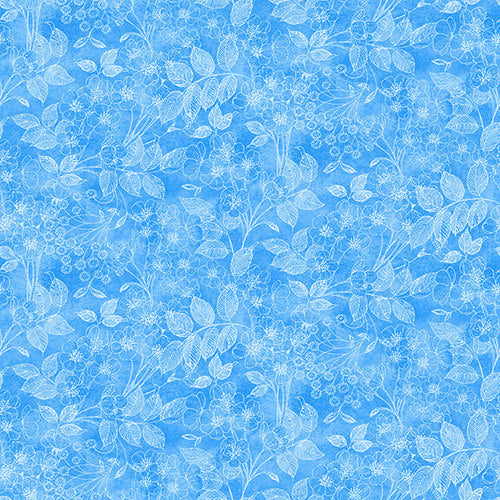Luna Garden Blue Tonal Floral - from Blank Quilting