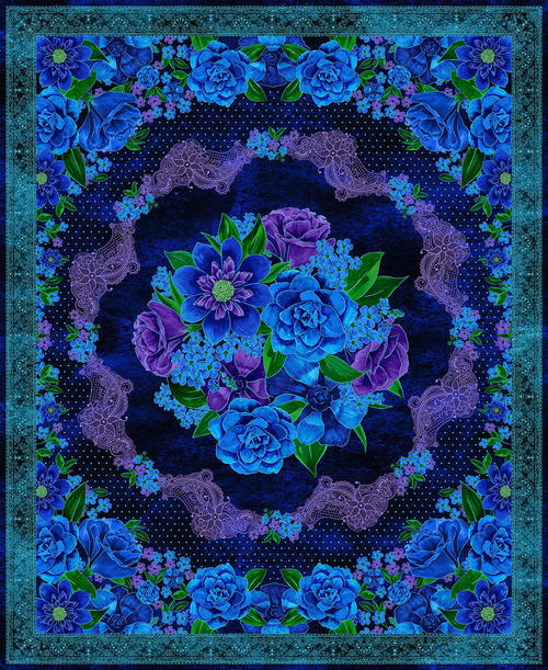 Luna Garden Navy Floral Panel - from Blank Quilting