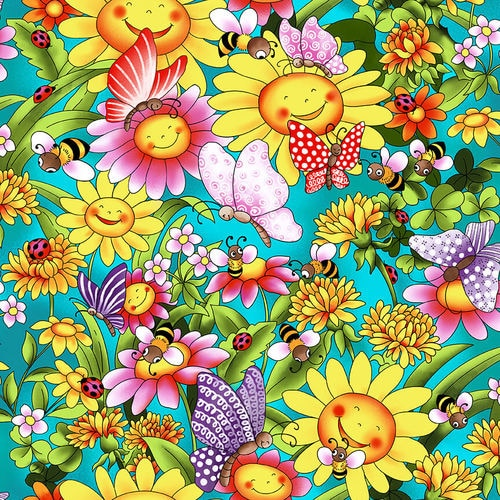 Pixie Patch Sunflowers with Butterflies, Blank Quilting