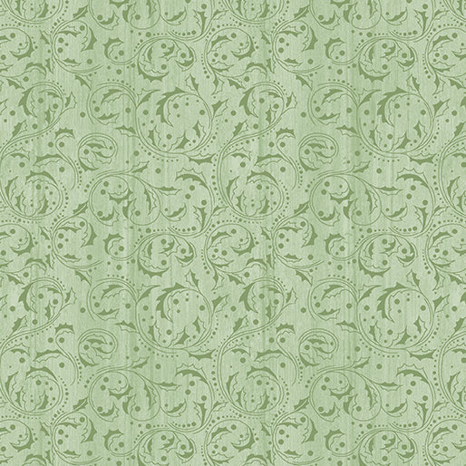 Festive Chickadees - Washed Scroll in Light Green - from Benartex