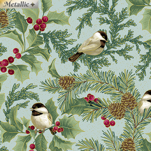 Festive Chickadees - Chickadees and Holly Allover - Seamist - from Benartex