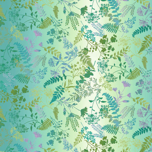 Studio e - Woodland Wonders - Wildflower Ombre in Teal Greens and Blues