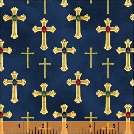 Three Kings Gold Crosses on Sapphire from Windham Fabrics