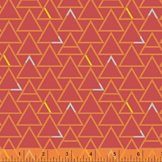 Good Vibes Only - Orange With Colorful Triangles - from Windham Fabrics