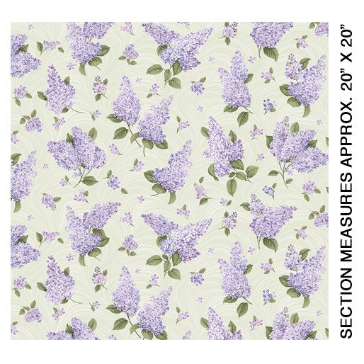Lilacs in Bloom - Lilacs on Sage Wave - from Benartex