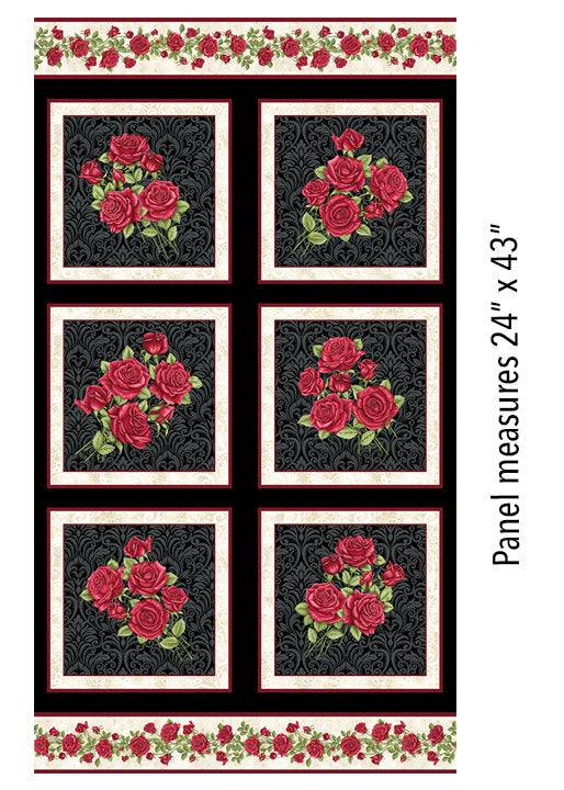 A Festival of Roses Festive Roses Panel in Black from Benartex