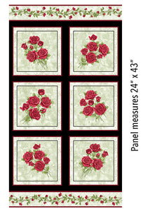 A Festival of Roses Festive Roses panel in green from Benartex