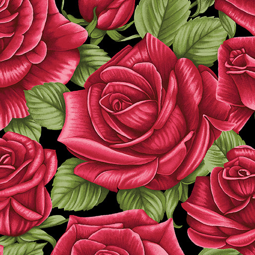 A Festival of Roses Festive Roses on Black by Benartex