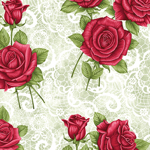 A Festival of Roses Green Festive Lace Roses by Benartex