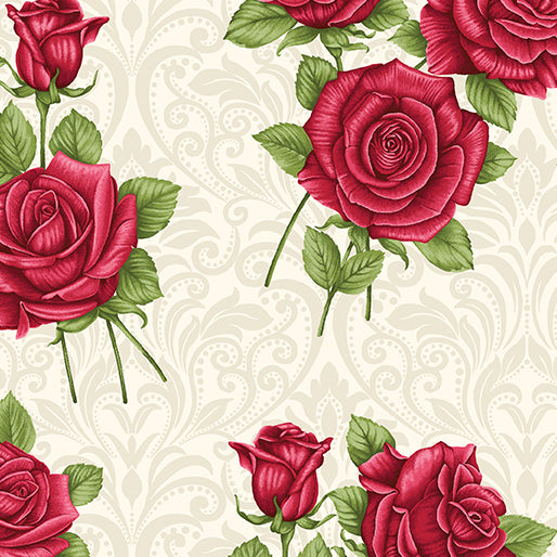 A Festival of Roses Cream Festive Damask Roses from Benartex