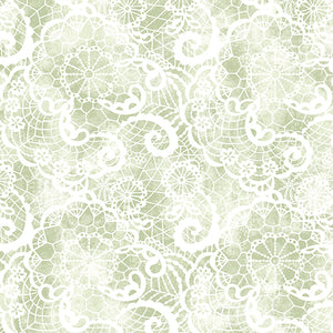 A Festival of Roses Green Festive Lace by Benartex