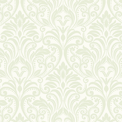 A Festival of Roses Soft Green Damask from Benartex