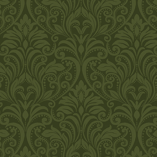 A Festival of Roses Dark Green Damask from Benartex