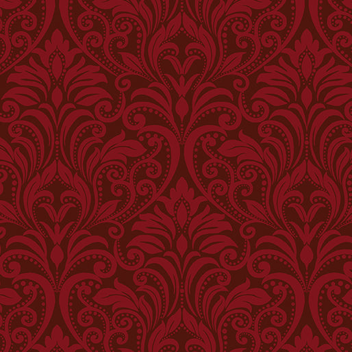 A Festival of Roses Festive Burgundy Damask from Benartex