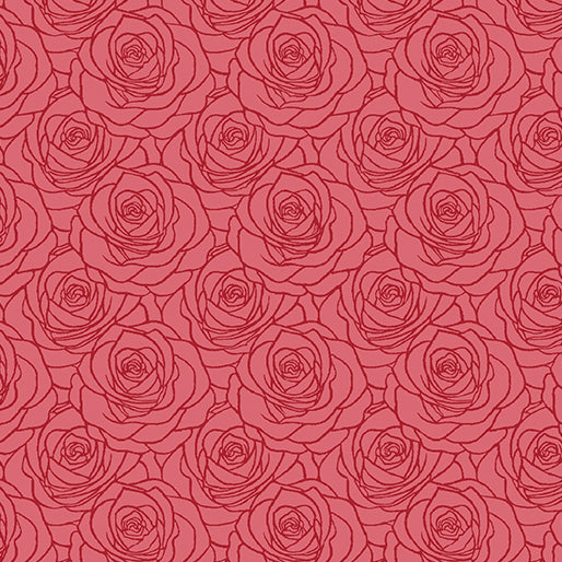 A Festival of Roses Outline Roses in Red from Benartex