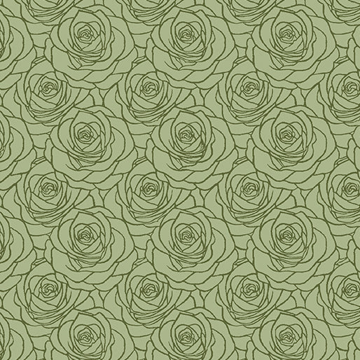 A Festival of Roses Outline Roses in Green - from Benartex