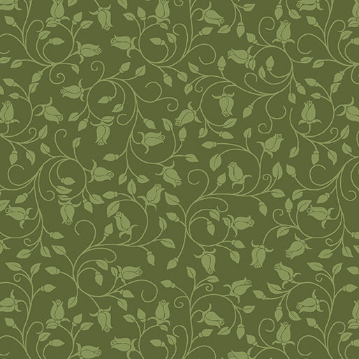 A Festival of Roses Trailing Buds in Medium Green from Benartex