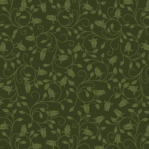 A Festival of Roses Trailing Buds Dark Green from Benartex