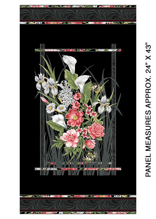 Magnificent Blooms - Floral Panel on Black - from Benartex