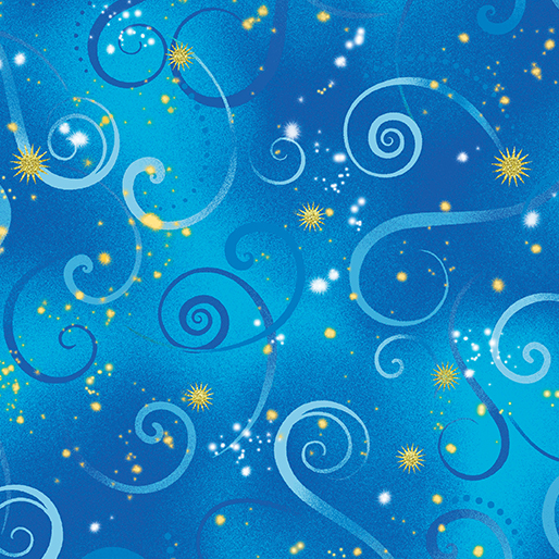 Dragon Fly Dance in Cobalt Blue Swirling Sky by Contempo from Benartex