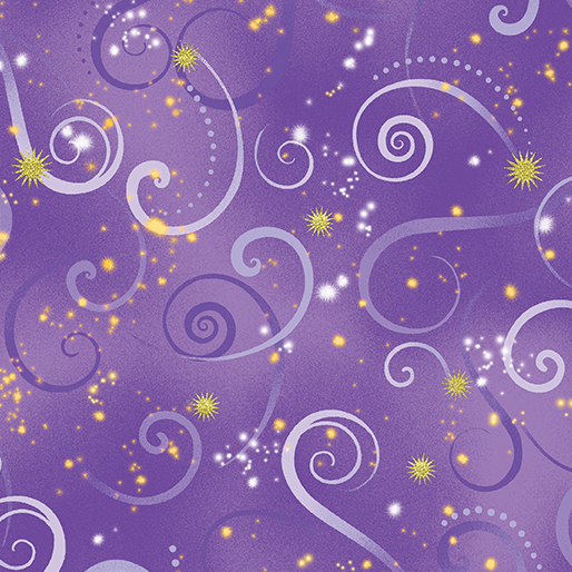 Dragon Fly Dance Swirling Sky in Medium Purple from Benartex