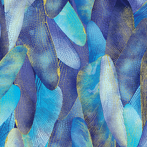 Dragon Fly Dance Gilded Wings in Blues by Contempo from Benartex
