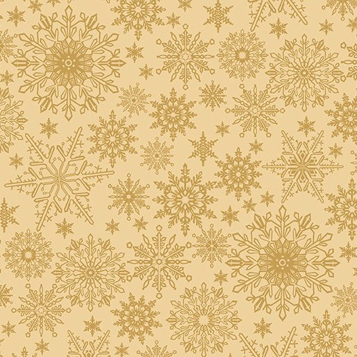 A Festive Season - Golden Tonal Snowflakes - from Benartex